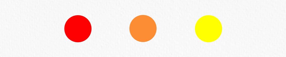 kolory ciepłe - czerwony, pomarańczowy, żółty